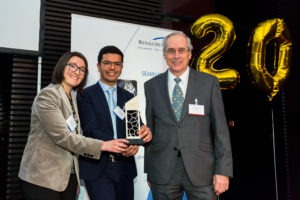 ID Quantique's Mr. Yacine Felk and Ms. Sara Fatale receiving the award in Munich, Germany.