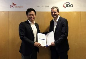 Park Jung-Ho, CEO and President of SK Telecom, and Grégoire Ribordy, co-founder and CEO of ID Quantique
